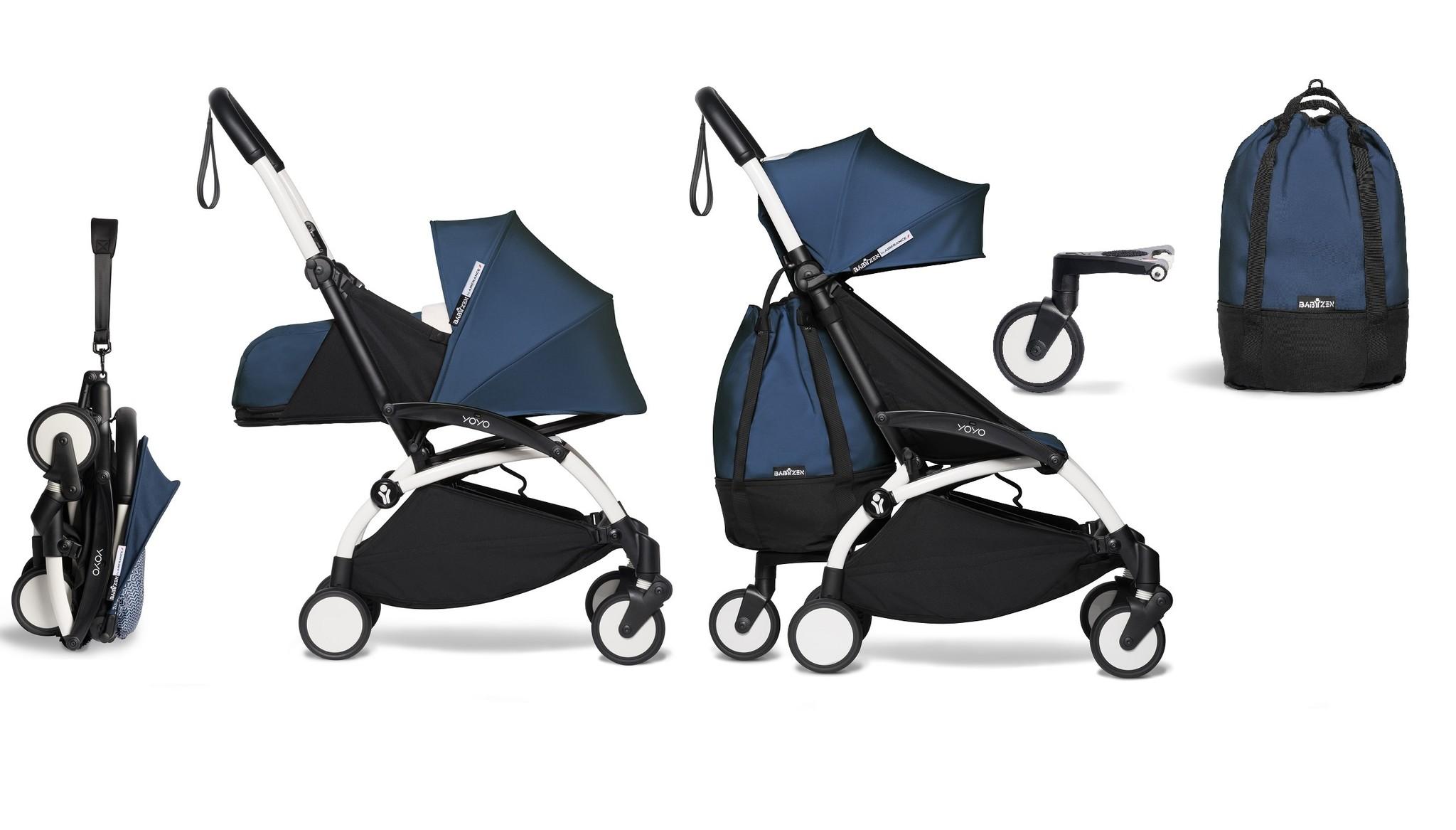 Babyzen YOYO² buggy COMPLEET vanaf de geboorte en inclusief YOYO Bag - AirFrance met frame wit