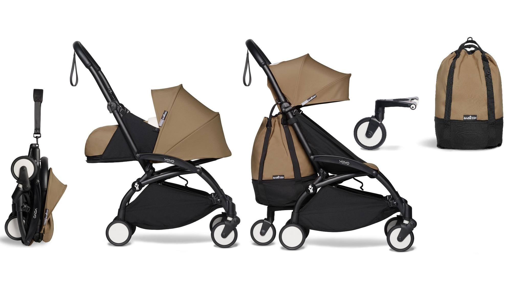 Babyzen YOYO² buggy COMPLEET vanaf de geboorte en inclusief YOYO Bag - toffee met frame zwart