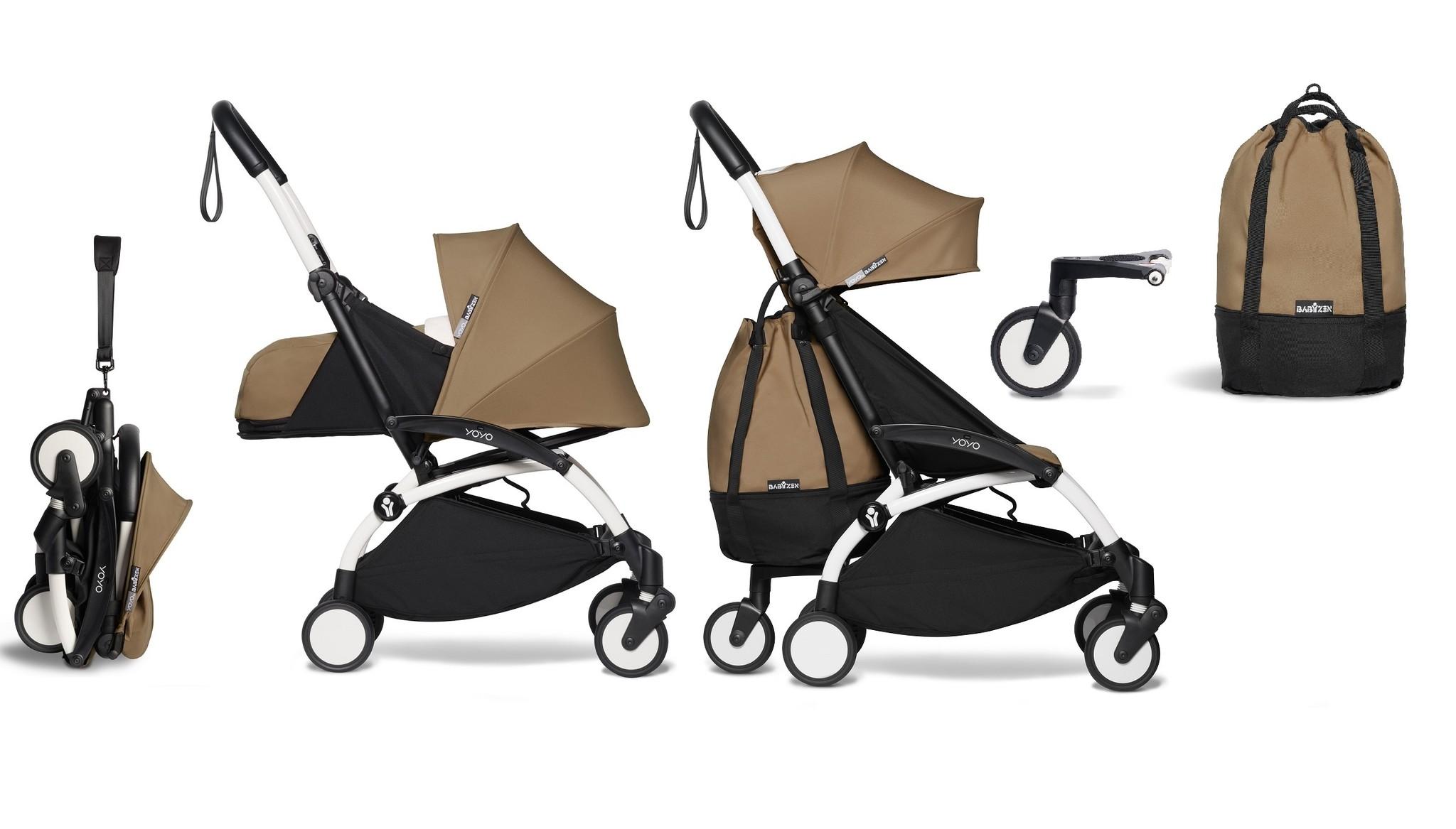 Babyzen YOYO² buggy COMPLEET vanaf de geboorte en inclusief YOYO Bag - toffee met frame wit