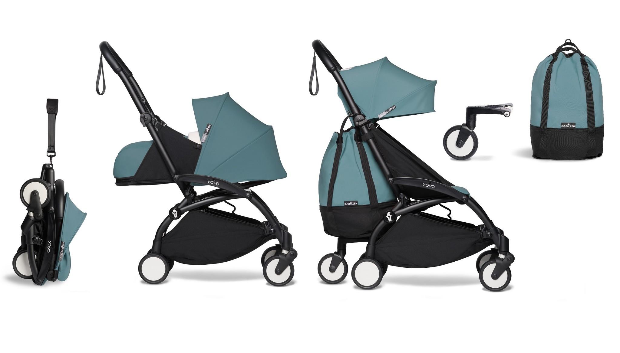 Babyzen YOYO² buggy COMPLEET vanaf de geboorte en inclusief YOYO Bag - aqua met frame zwart