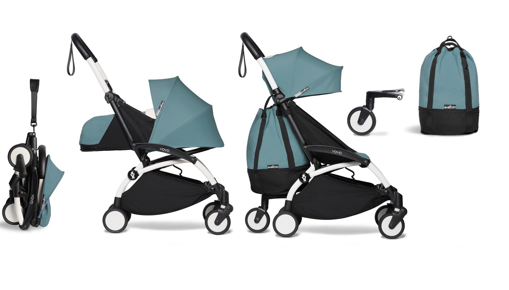 Babyzen YOYO² buggy COMPLEET vanaf de geboorte en inclusief YOYO Bag - aqua met frame wit