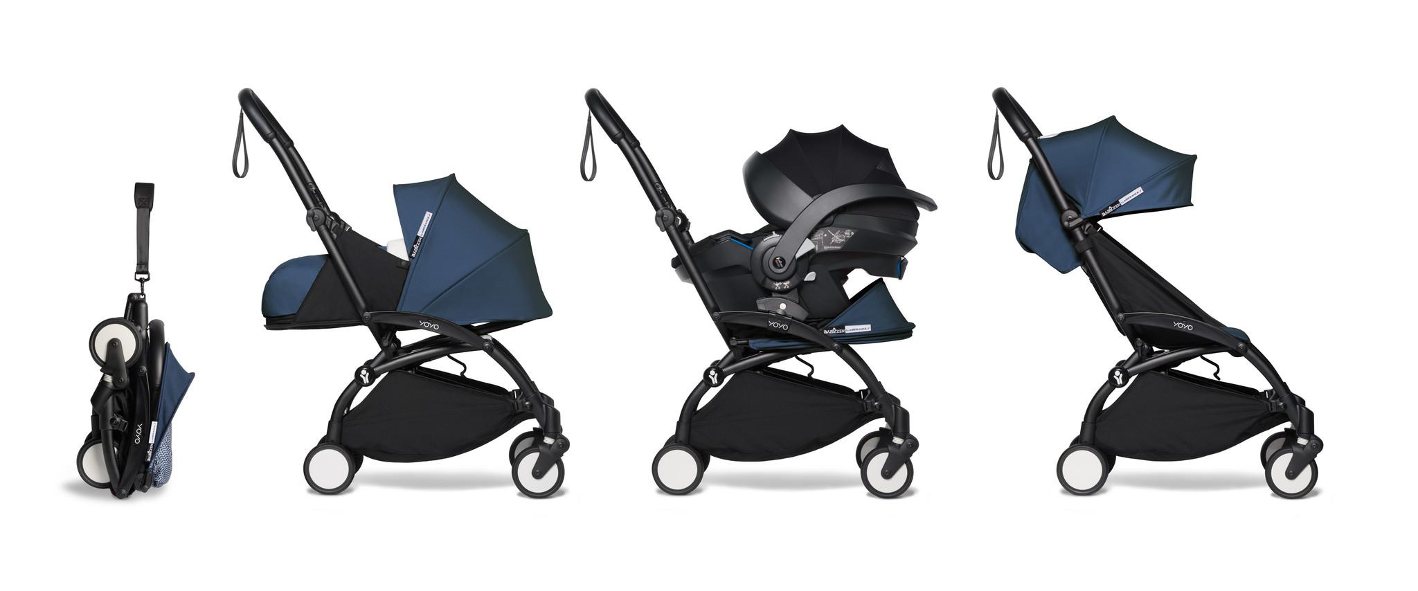 Babyzen Babyzen YOYO² Buggy VOLLSTÄNDIG von Geburt an, einschließlich YOYO² BeSafe Autositz schwarz und YOYO Bag - AirFrance mit Rahmen schwarz