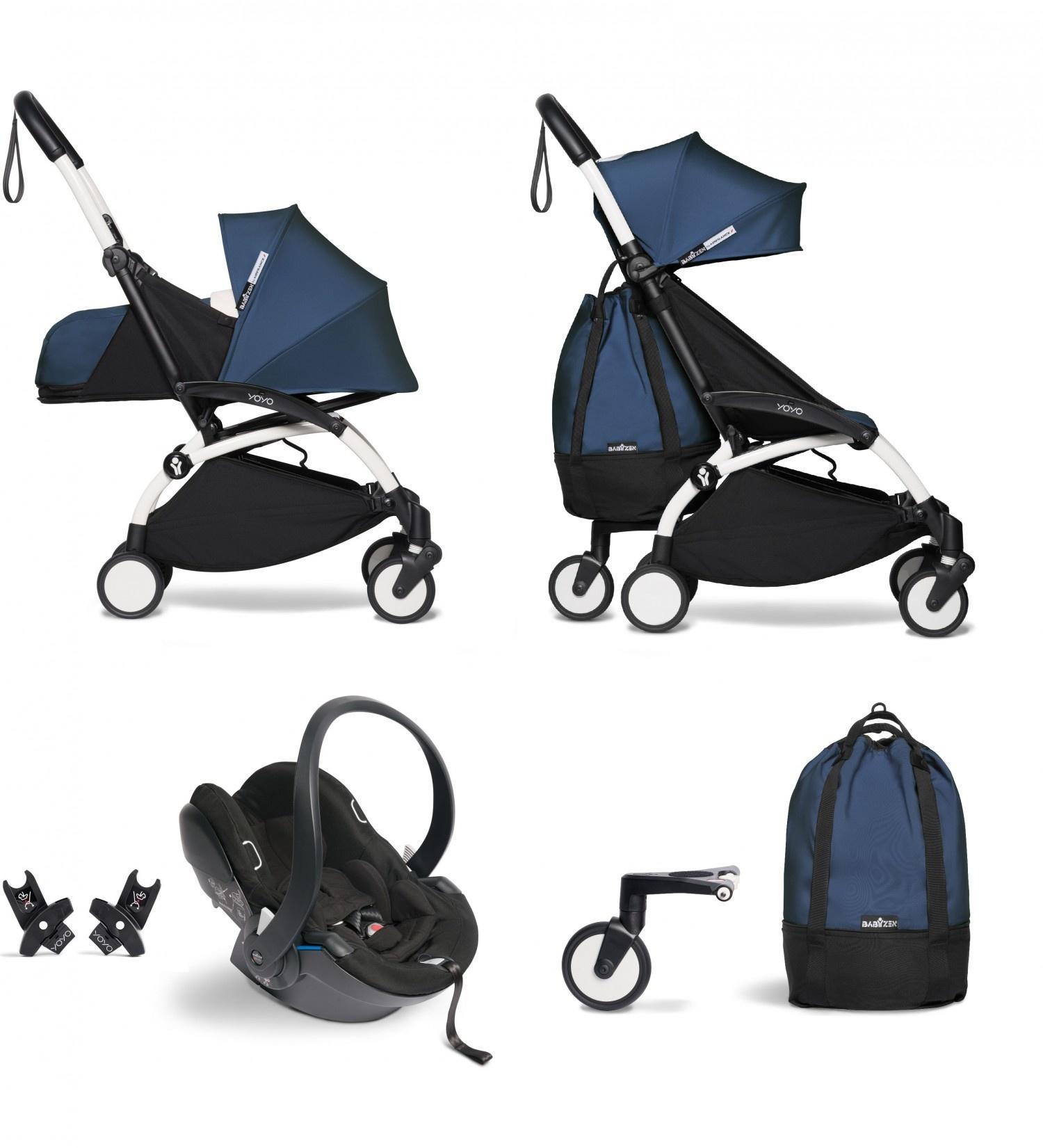 Babyzen Babyzen YOYO² buggy COMPLEET vanaf de geboorte inclusief YOYO² BeSafe autostoel zwart  en YOYO Bag -  AirFrance met frame wit