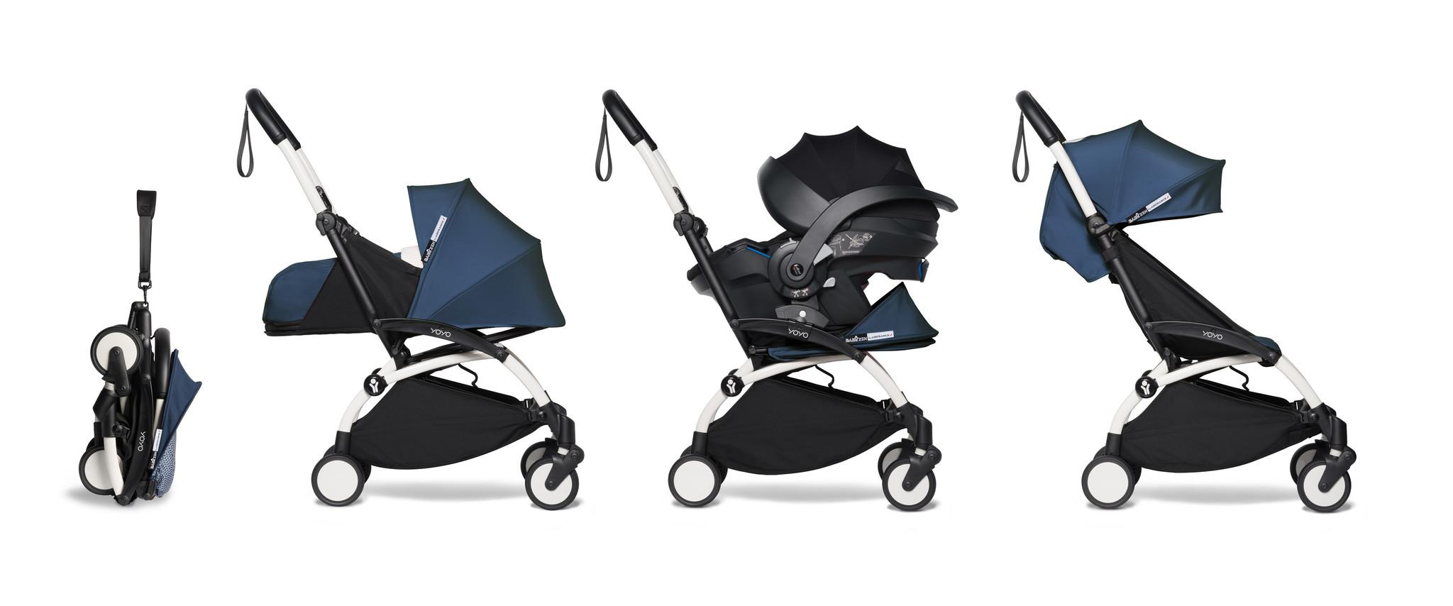 Babyzen Babyzen YOYO² Buggy VOLLSTÄNDIG von Geburt an, einschließlich YOYO² BeSafe Autositz schwarz und YOYO Bag - AirFrance mit Rahmen weiß