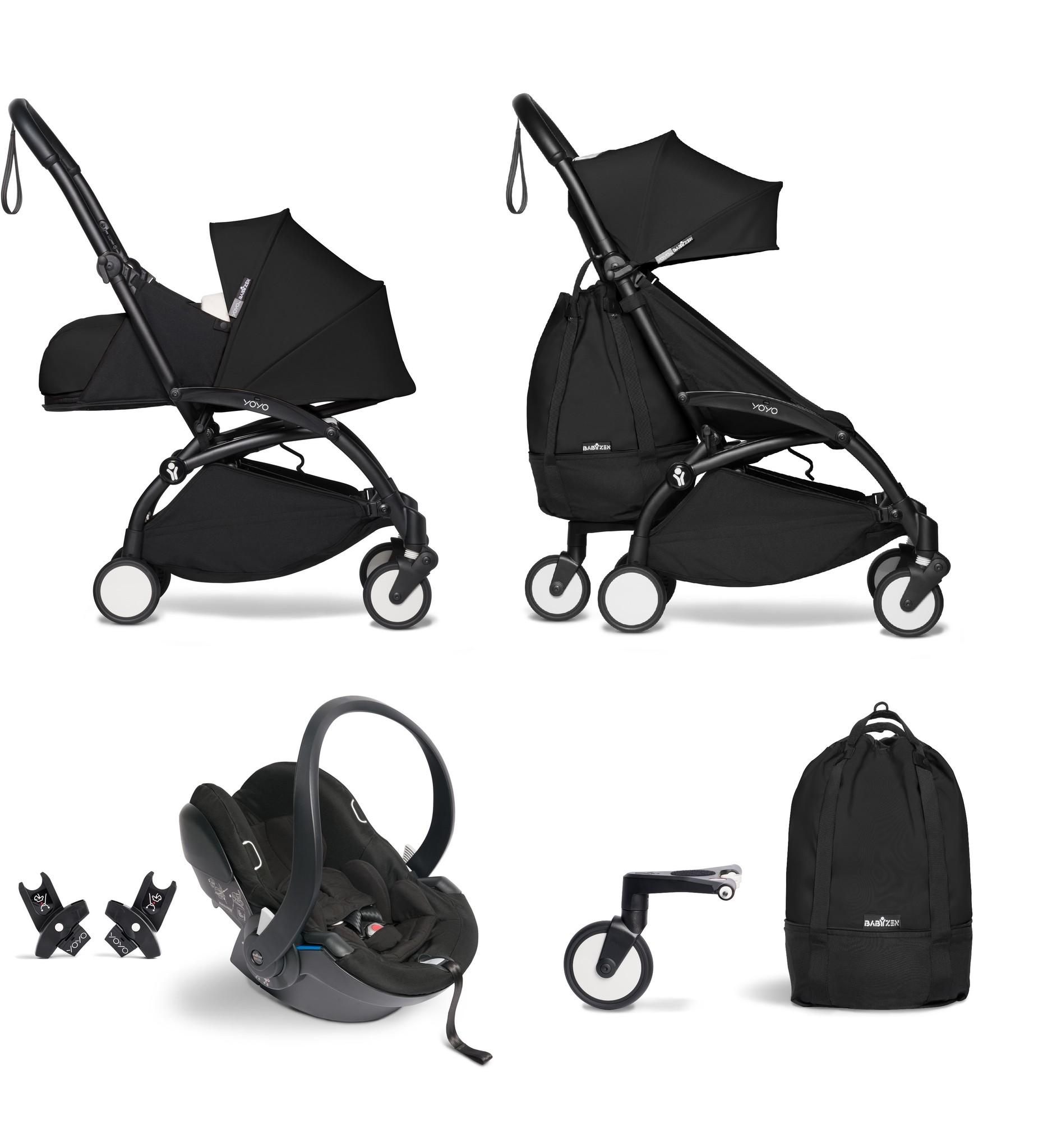 Babyzen Babyzen YOYO² Buggy VOLLSTÄNDIG von Geburt an, einschließlich YOYO² BeSafe Autositz schwarz und YOYO Bag - schwarz mit schwarzem Rahmen