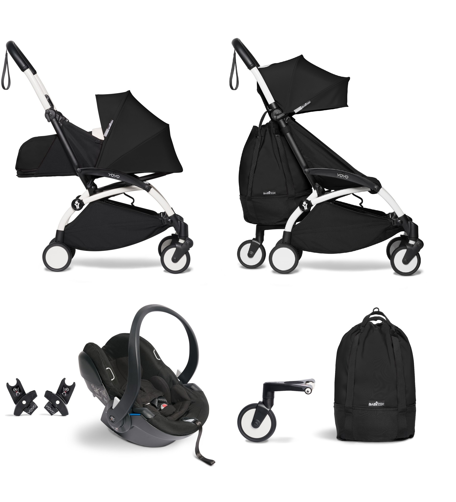 Babyzen Babyzen YOYO² buggy COMPLEET vanaf de geboorte inclusief YOYO² BeSafe autostoel zwart  en YOYO Bag -  zwart met frame wit