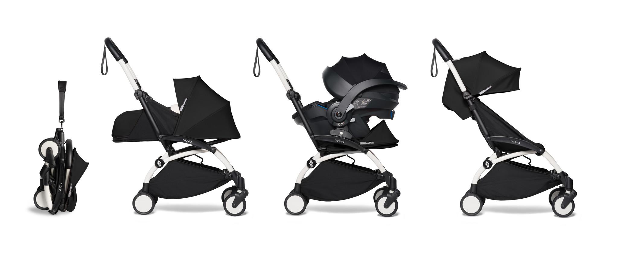 Babyzen Babyzen YOYO² Buggy VOLLSTÄNDIG von Geburt an, einschließlich YOYO² BeSafe Autositz schwarz und YOYO Bag - schwarz mit Rahmen weiß