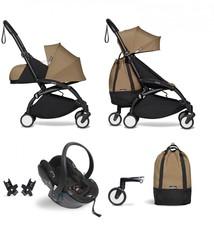 Babyzen Babyzen YOYO² Buggy VOLLSTÄNDIG von Geburt an, einschließlich YOYO² BeSafe Autositz schwarz und YOYO Bag - Toffee mit Rahmen schwarz