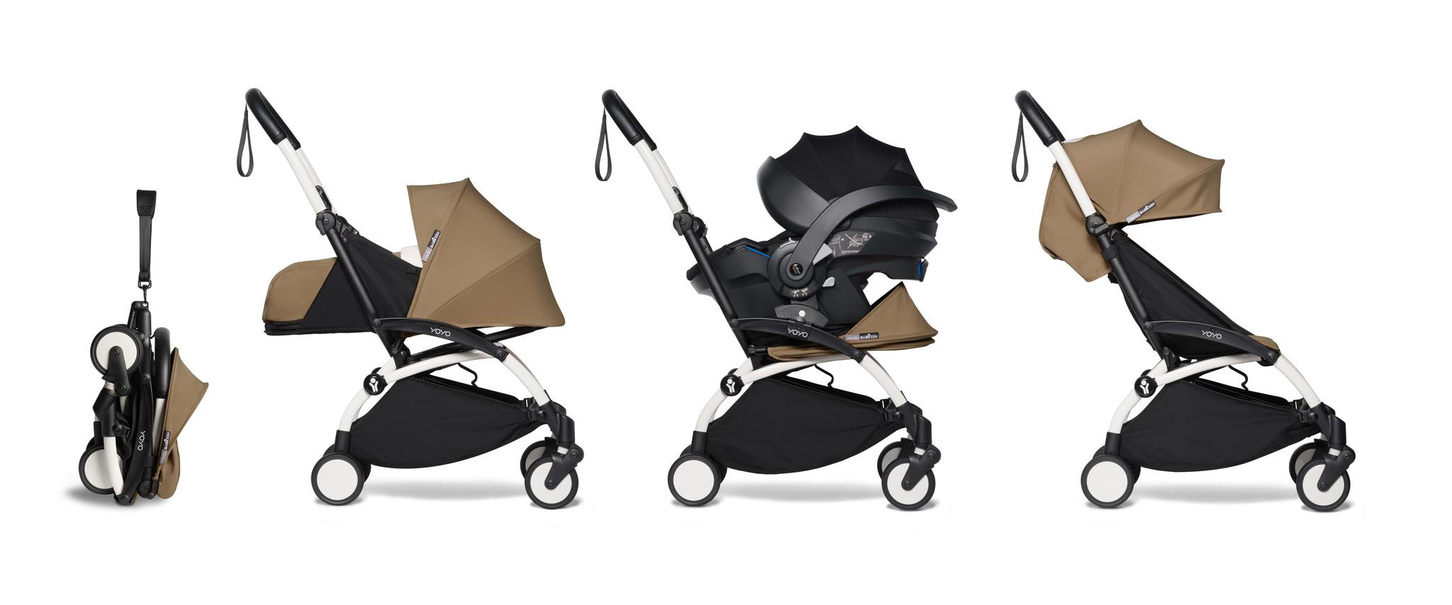 Babyzen Babyzen YOYO² buggy COMPLEET vanaf de geboorte inclusief YOYO² BeSafe autostoel zwart  en YOYO Bag -  toffee met frame wit