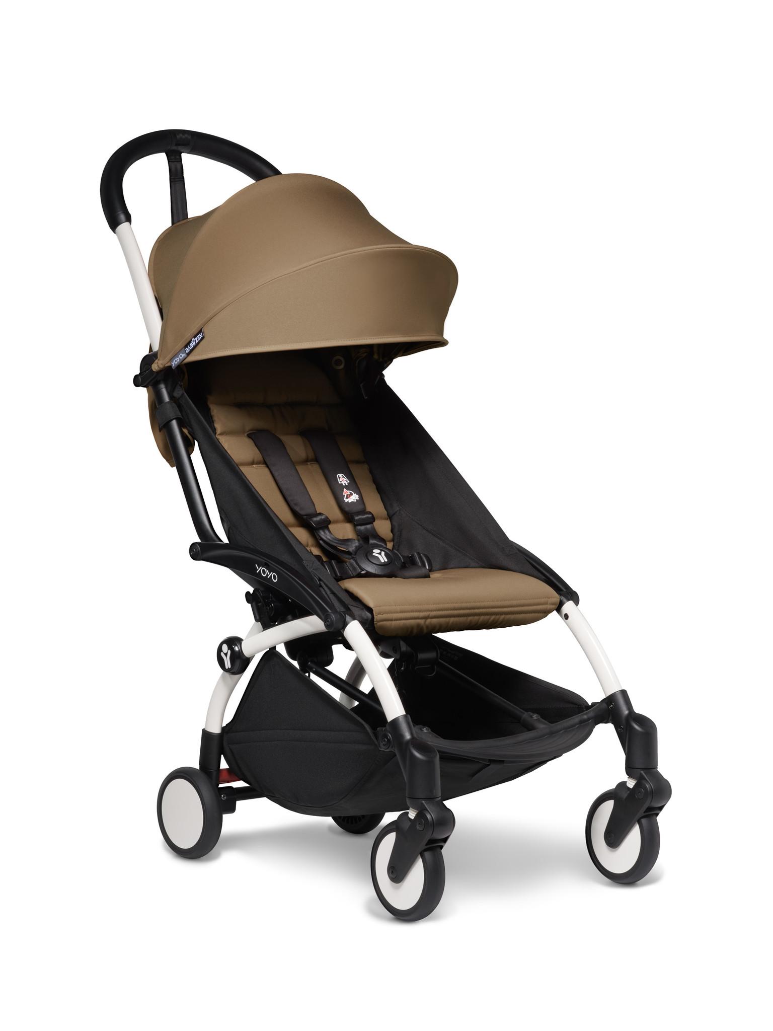 Babyzen Babyzen YOYO² Buggy VOLLSTÄNDIG von Geburt an, einschließlich YOYO² BeSafe Autositz schwarz und YOYO Bag - Toffee mit Rahmen weiß