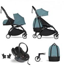 Babyzen Babyzen YOYO² Buggy VOLLSTÄNDIG von Geburt an, einschließlich YOYO² BeSafe Autositz schwarz und YOYO Bag - Aqua mit Rahmen schwarz