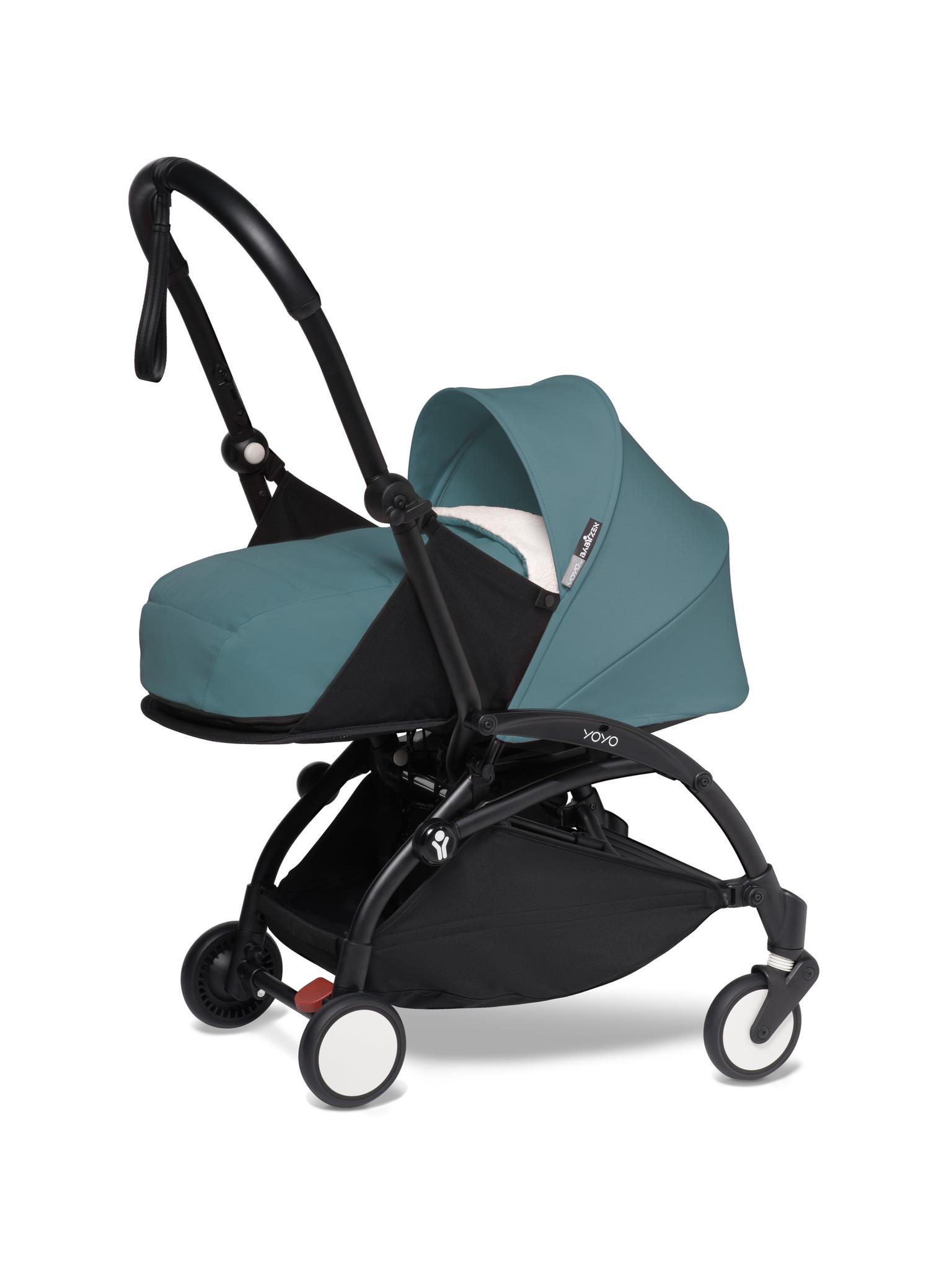 Babyzen Babyzen YOYO² buggy COMPLEET vanaf de geboorte inclusief YOYO² BeSafe autostoel zwart  en YOYO Bag -  aqua met frame zwart