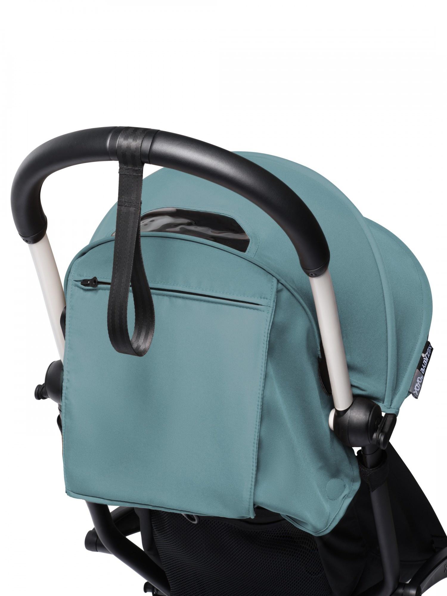 Babyzen Babyzen YOYO² buggy COMPLEET vanaf de geboorte inclusief YOYO² BeSafe autostoel zwart  en YOYO Bag -  aqua met frame wit