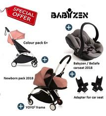 Babyzen Babyzen YOYO² buggy compleet 0+ 2018 en 6+ Ginger , frame wit incl. autostoel Babyzen iZi Go Modular by BeSafe grijs 2018