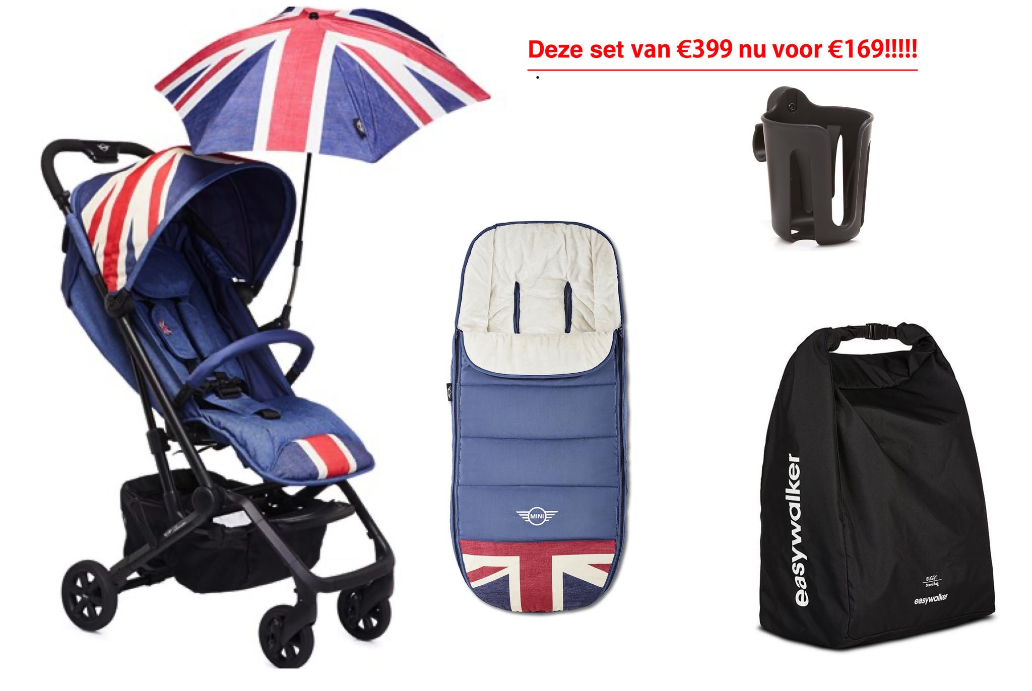 Easywalker Mini von Easywalker XS Buggy Union Jack Vintage und Sonnenschirm und Fußsack sowie Transporttasche und Getränkehalter