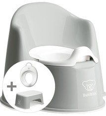 BABYBJÖRN Babybjörn startpakket bestaande uit Plaspotje Zetel, Opstapkrukje en Toilettrainer - Grijs wit
