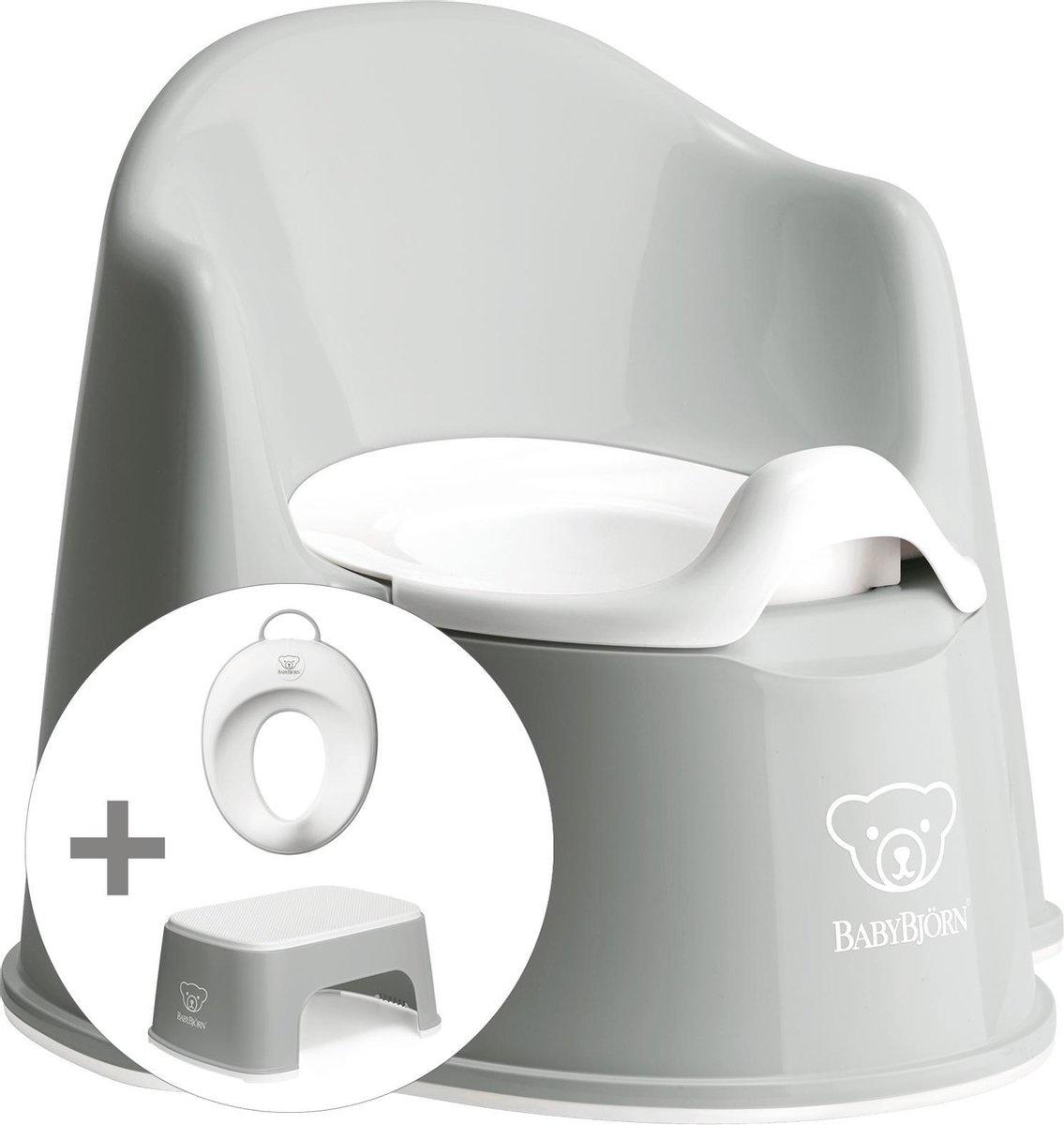 BABYBJÖRN Babybjörn startpakket bestaande uit Plaspotje Zetel, Opstapkrukje en Toilettrainer - Grijs