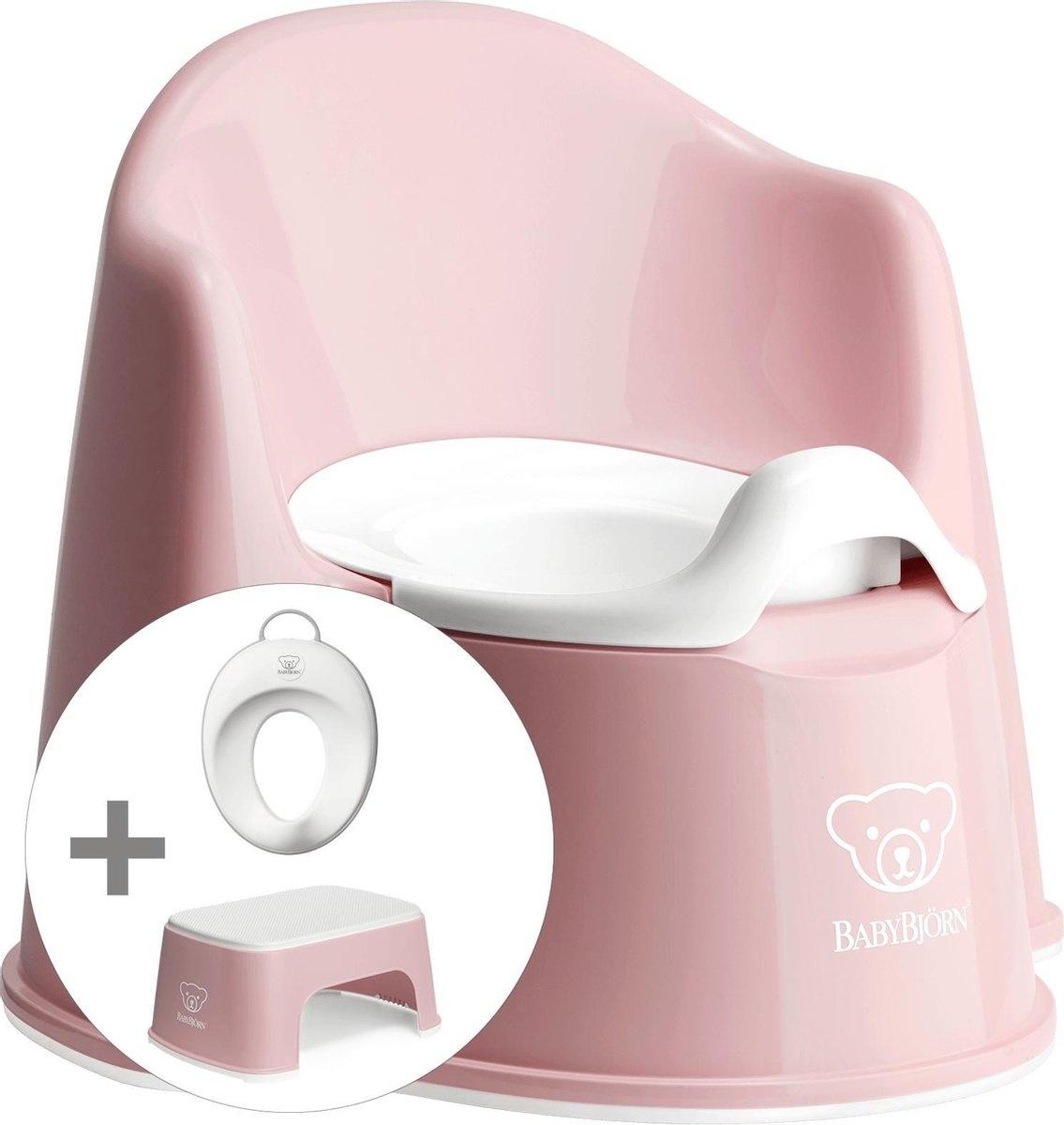 BABYBJÖRN Babybjörn startpakket bestaande uit Plaspotje Zetel, Opstapkrukje en Toilettrainer - Pastelroze wit