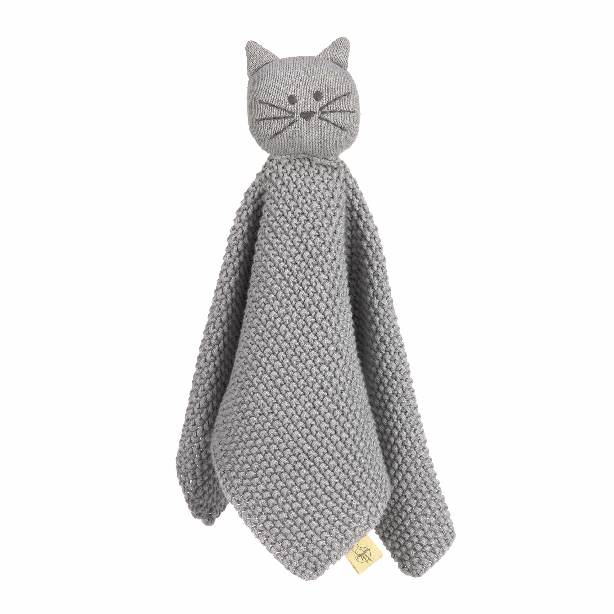 Lässig gebreide baby knuffel 100% organic cotton, Little Chums cat