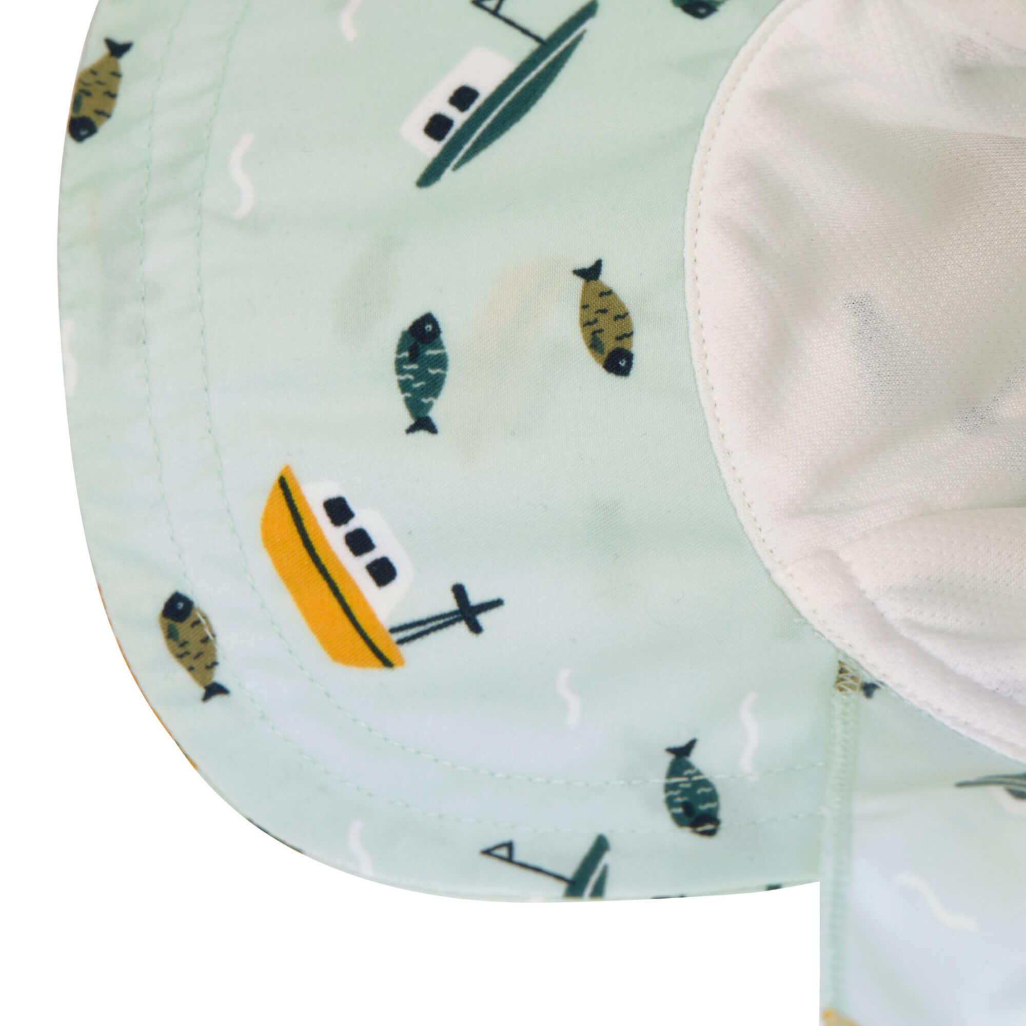 Lässig Lässig Splash & Fun Sun Protection Zonnehoed Flaphoed met UV bescherming - Boat mint 19-36 maanden, Maat: 50/51