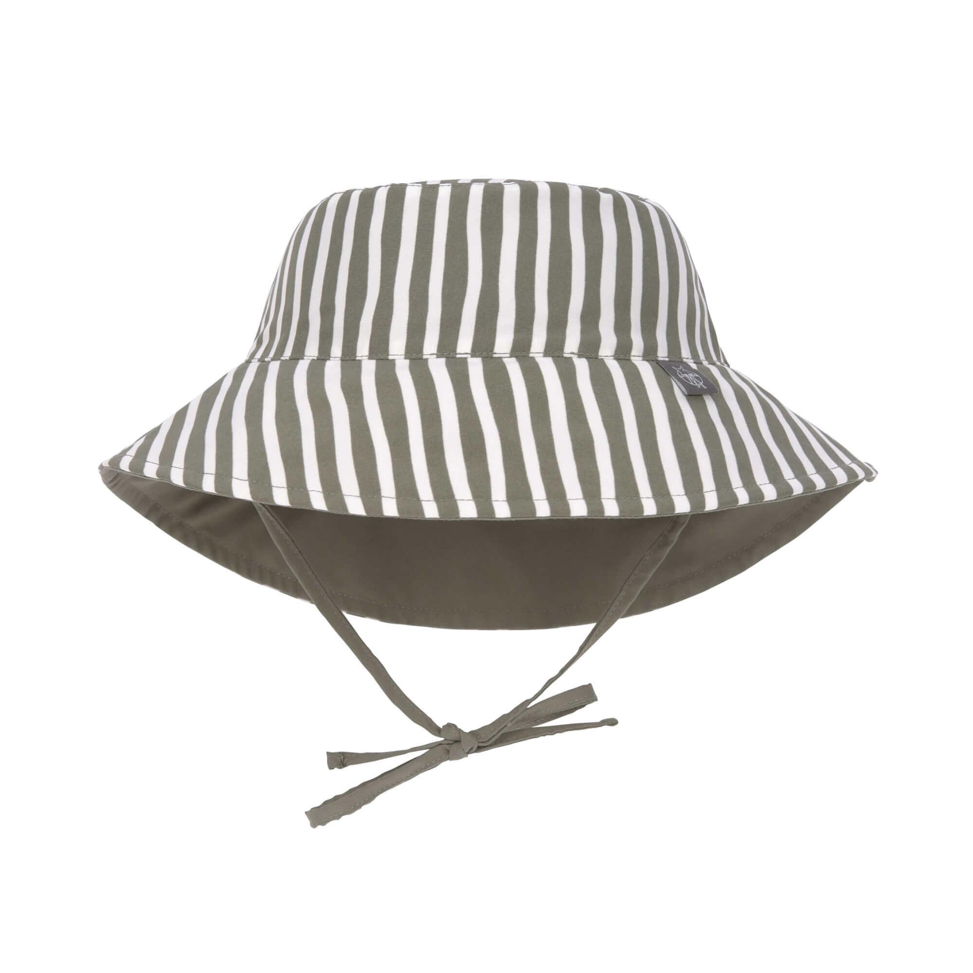 Lässig Lässig Splash & Fun Sun Protection Zonnehoed Vissershoed met UV bescherming - Stripes olive 19-36 maanden, Maat: 50/51