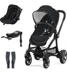 Kiddy Kiddy Evostar 1 incl. Kinderwagen (frame en zitje) + Evoluna i-Size (stoeltje) + Isofix Base 2 +  adapter. Kleur: Onyx Black