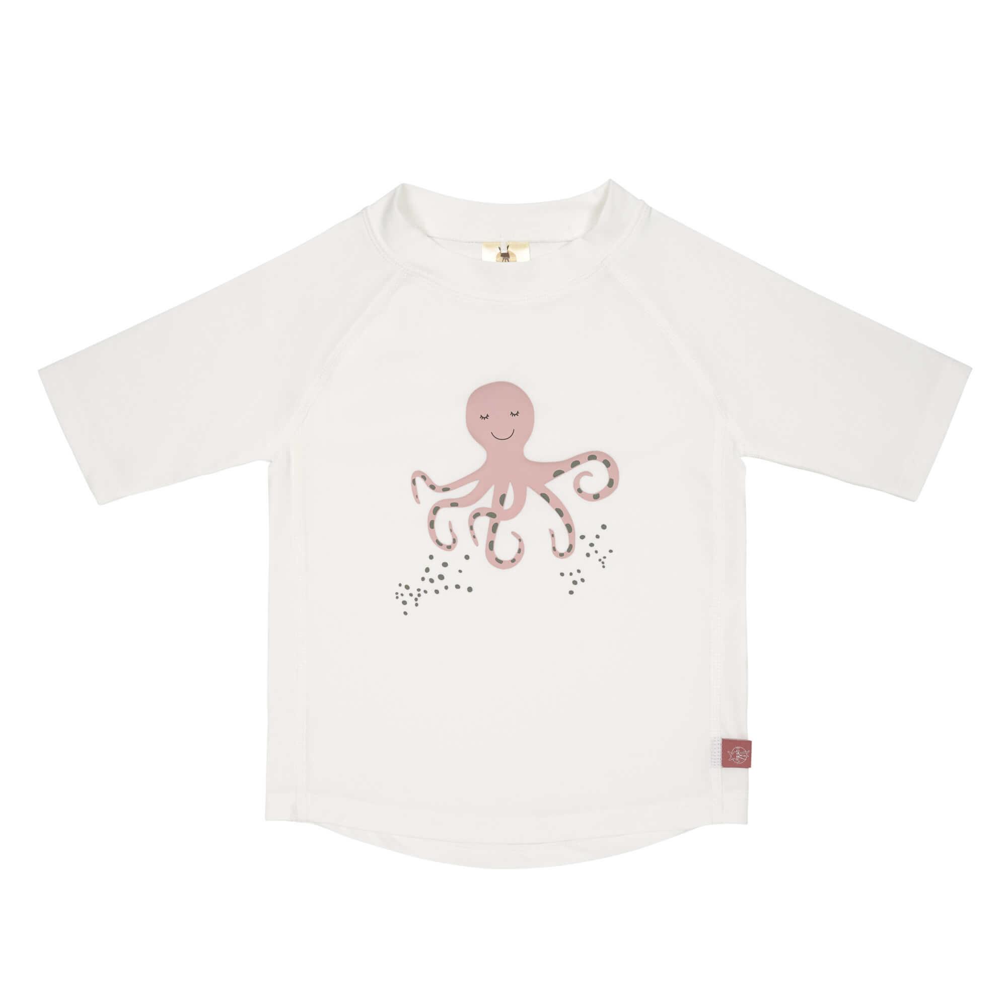 Lässig Lässig Splash & Fun Korte mouw Rashguard UV zwemshirt – Octopus white