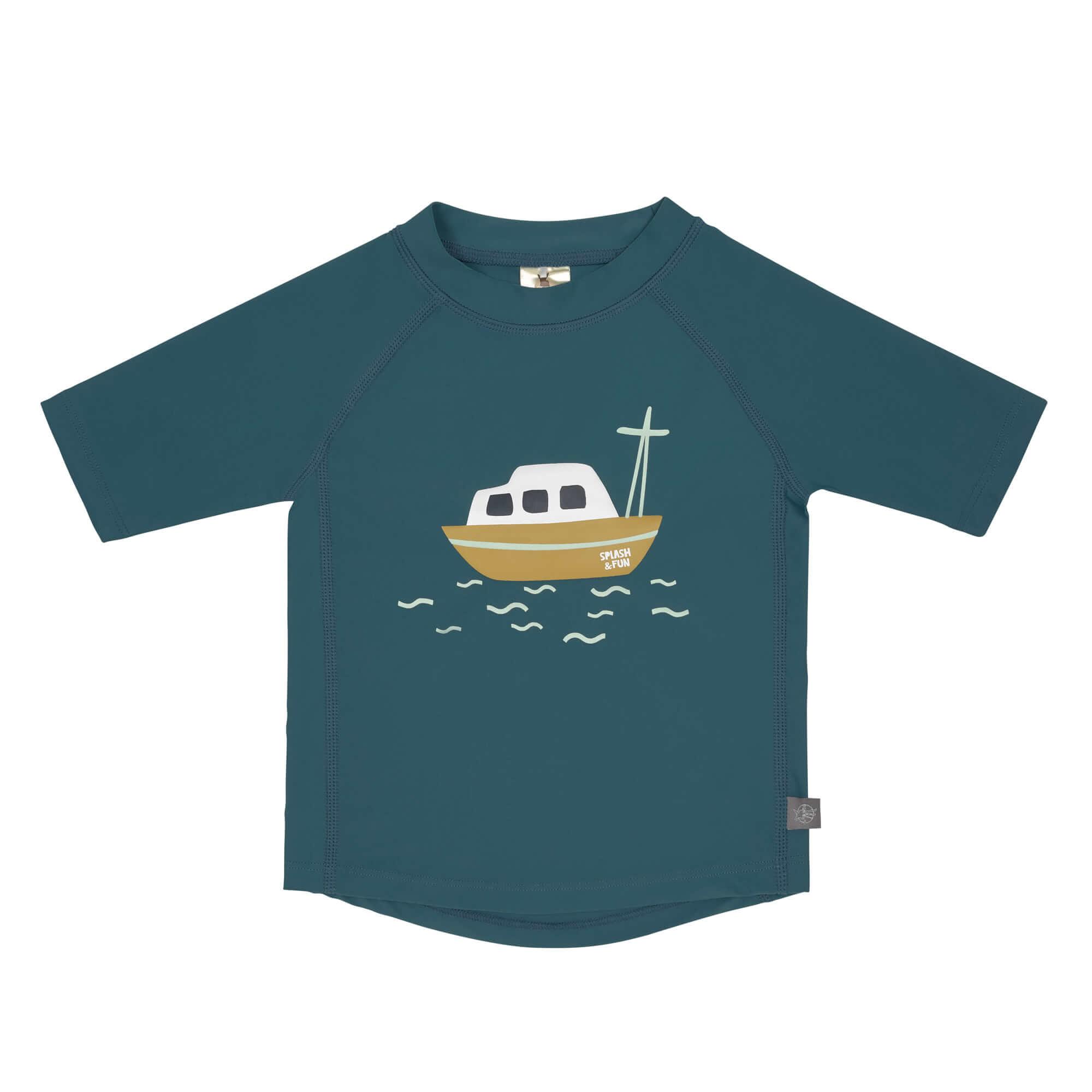 Lässig Splash & Fun Korte mouw Rashguard UV zwemshirt - Boat blue