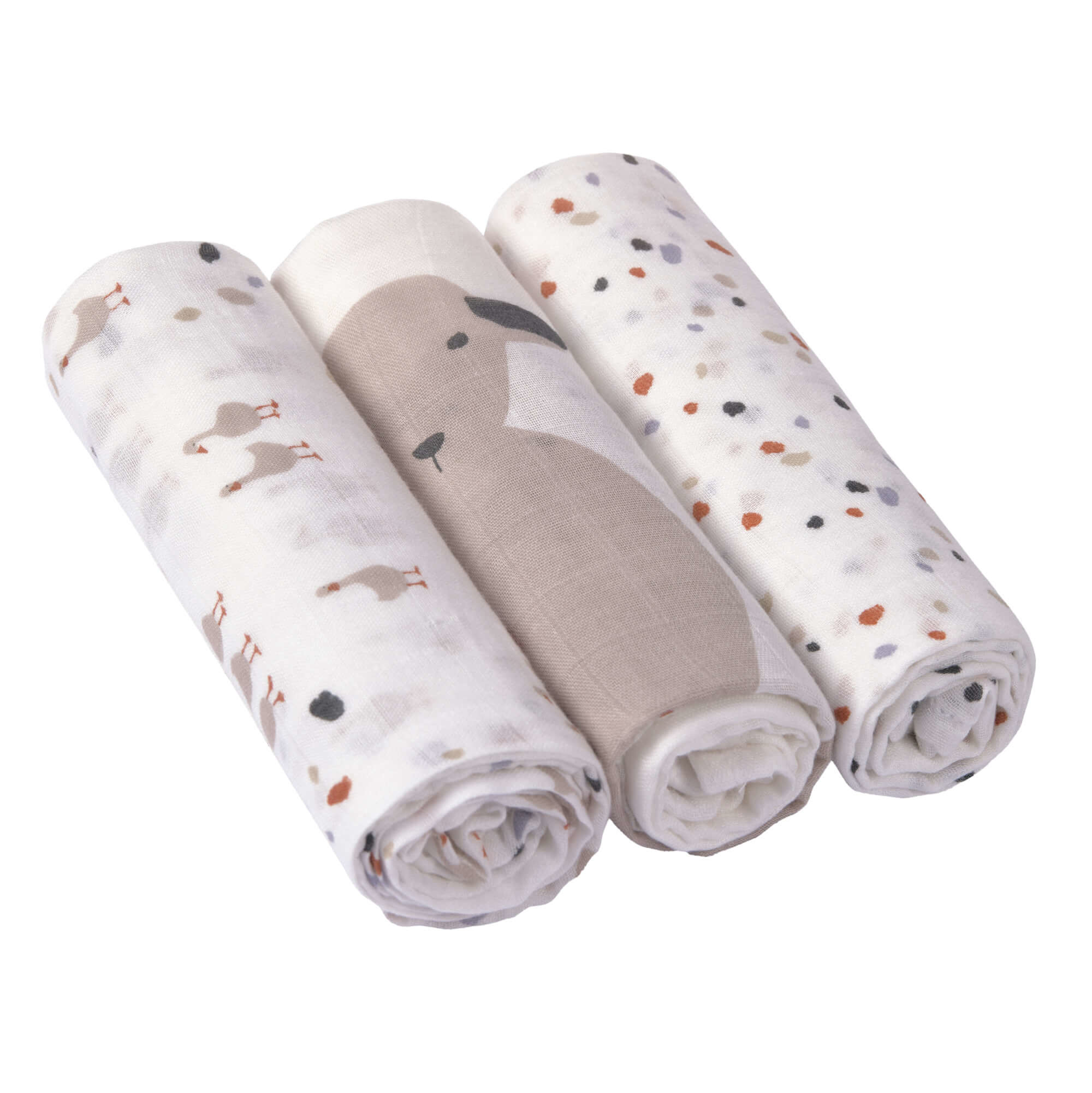 Lässig Heavenly soft swaddle doek / luier L 3 stuks Tiny Farmer Speckles 80 x 80 cm