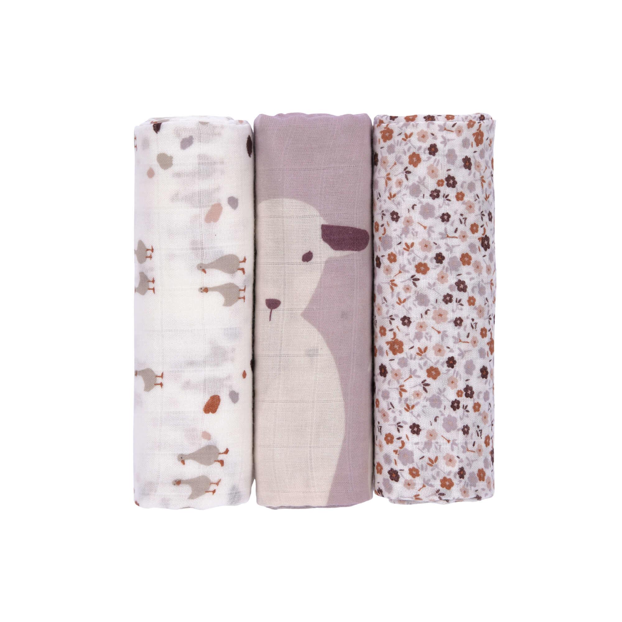 Lässig Lässig Heavenly soft swaddle doek / luier L 3 stuks Tiny Farmer Flowers 80 x 80 cm