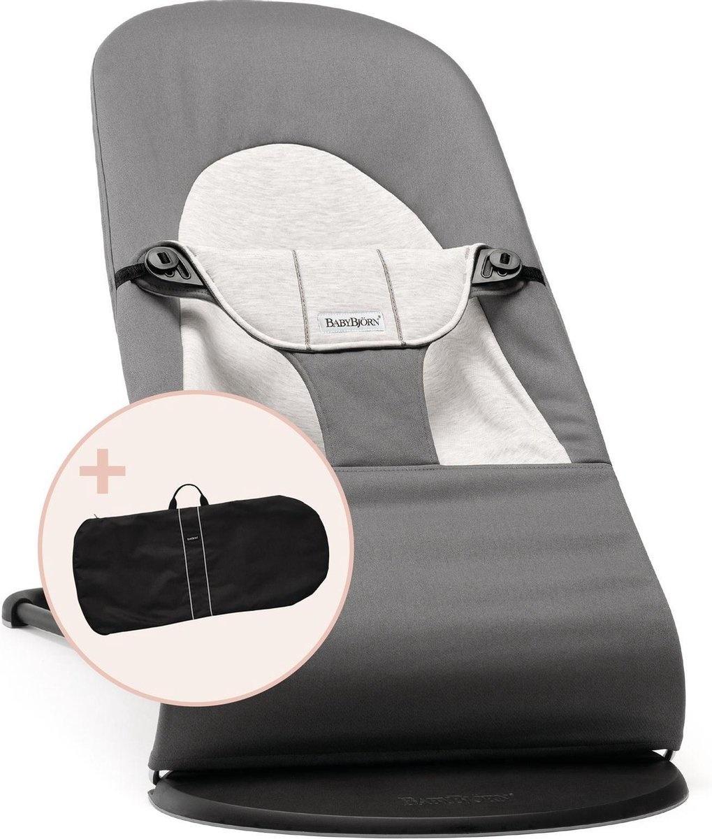 BABYBJÖRN BABYBJÖRN Wipstoeltje Balance Soft Donkergrijs Grijs Cotton/Jersey met Transporttas Zwart
