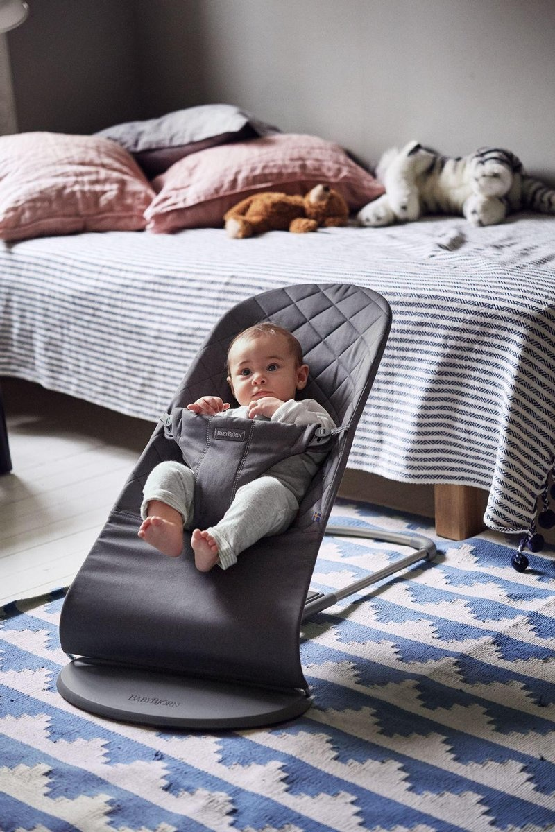 BABYBJÖRN BABYBJÖRN Wipstoeltje Bliss Antraciet Cotton met Transporttas Zwart