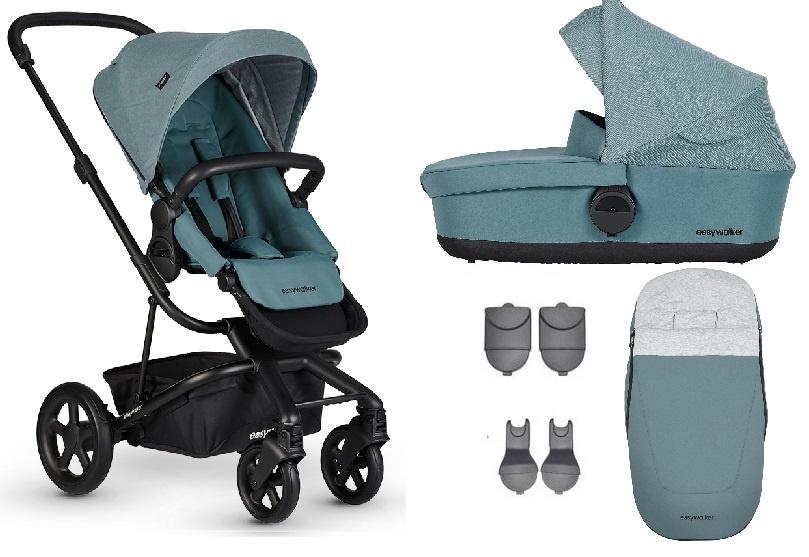 Easywalker Harvey² Kinderwagen + Reiswieg + Voetenzak + Autostoel-adapter + Hoogte-adapter Ocean Blu