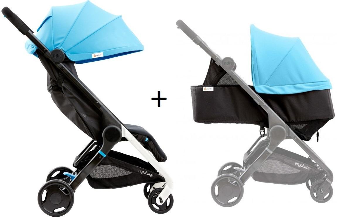 Ergobaby Metro Compact Stroller Blue / buggy blauw + Newborn Kit Blue