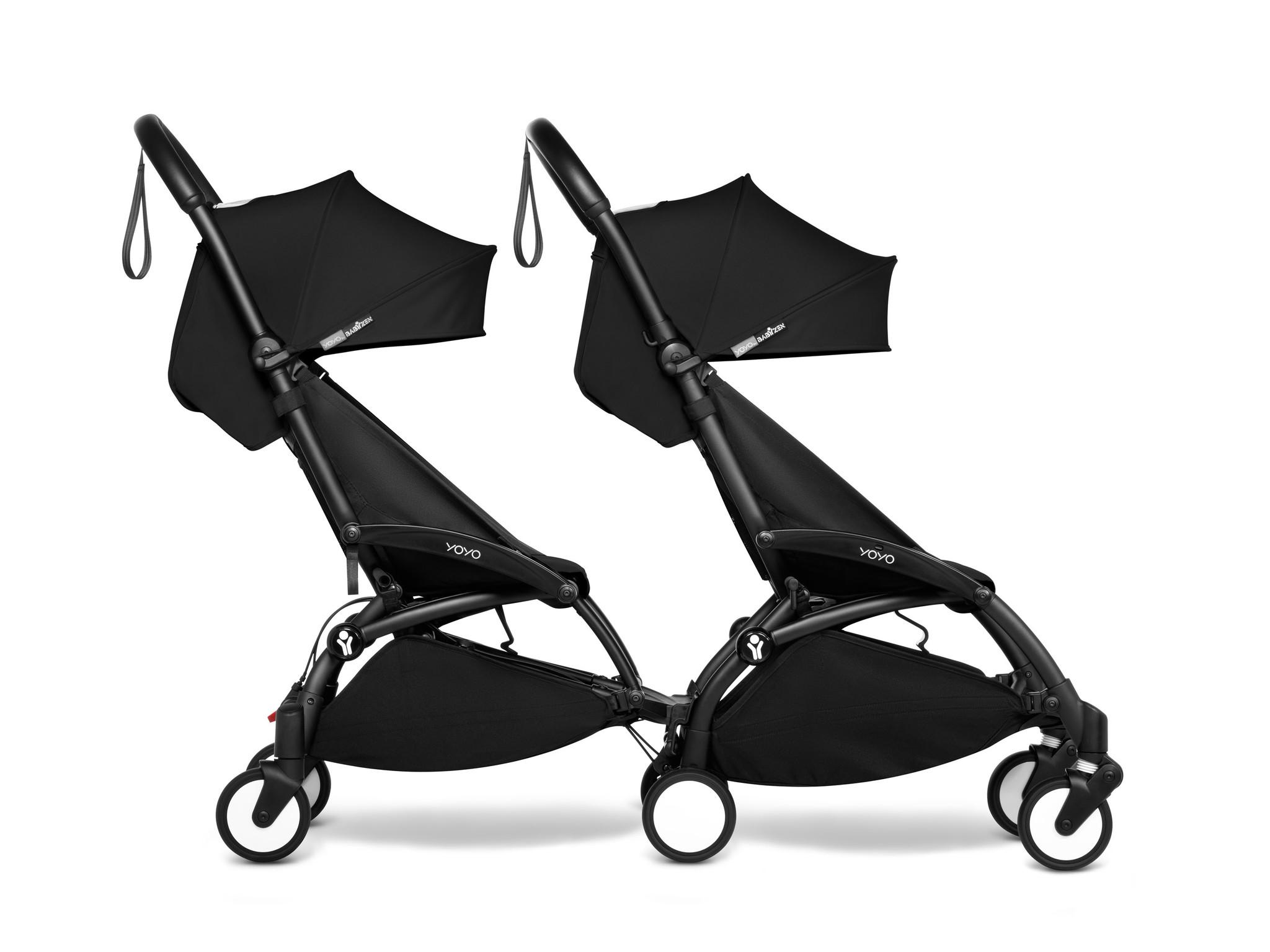 Babyzen YOYO2 zwart frame met CONNECT compleet voor 2 kindjes van 6 mnd + kleur zwart