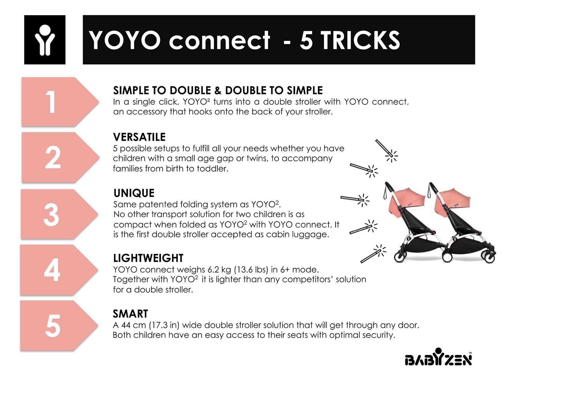 Babyzen Babyzen YOYO2 zwart frame met CONNECT compleet voor 2 kindjes van 6 mnd + kleur zwart