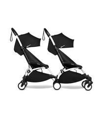 Babyzen Babyzen YOYO2 wit frame met CONNECT compleet voor 2 kindjes van 6 mnd + kleur zwart