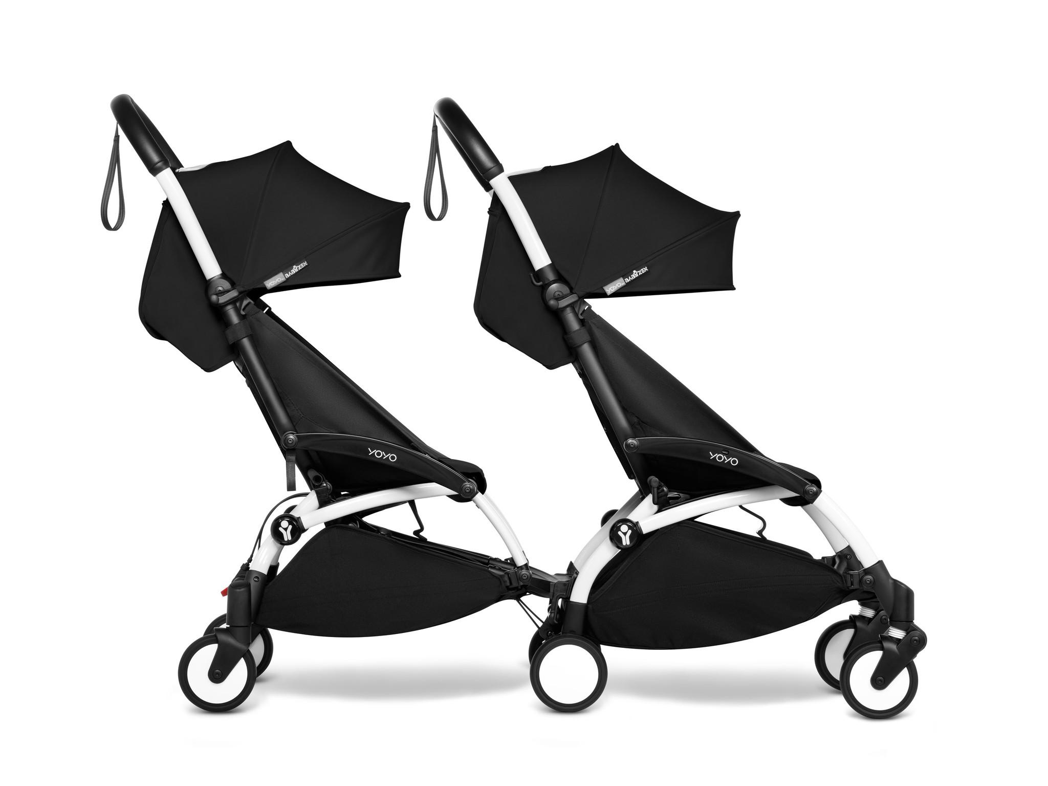 Babyzen YOYO2 wit frame met CONNECT compleet voor 2 kindjes van 6 mnd + kleur zwart