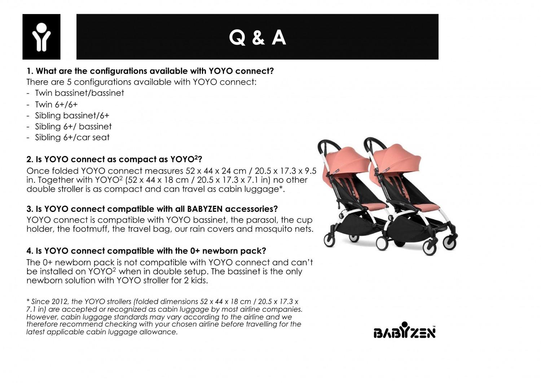 Babyzen Babyzen YOYO2 wit frame met CONNECT compleet voor 2 newborns kleur zwart