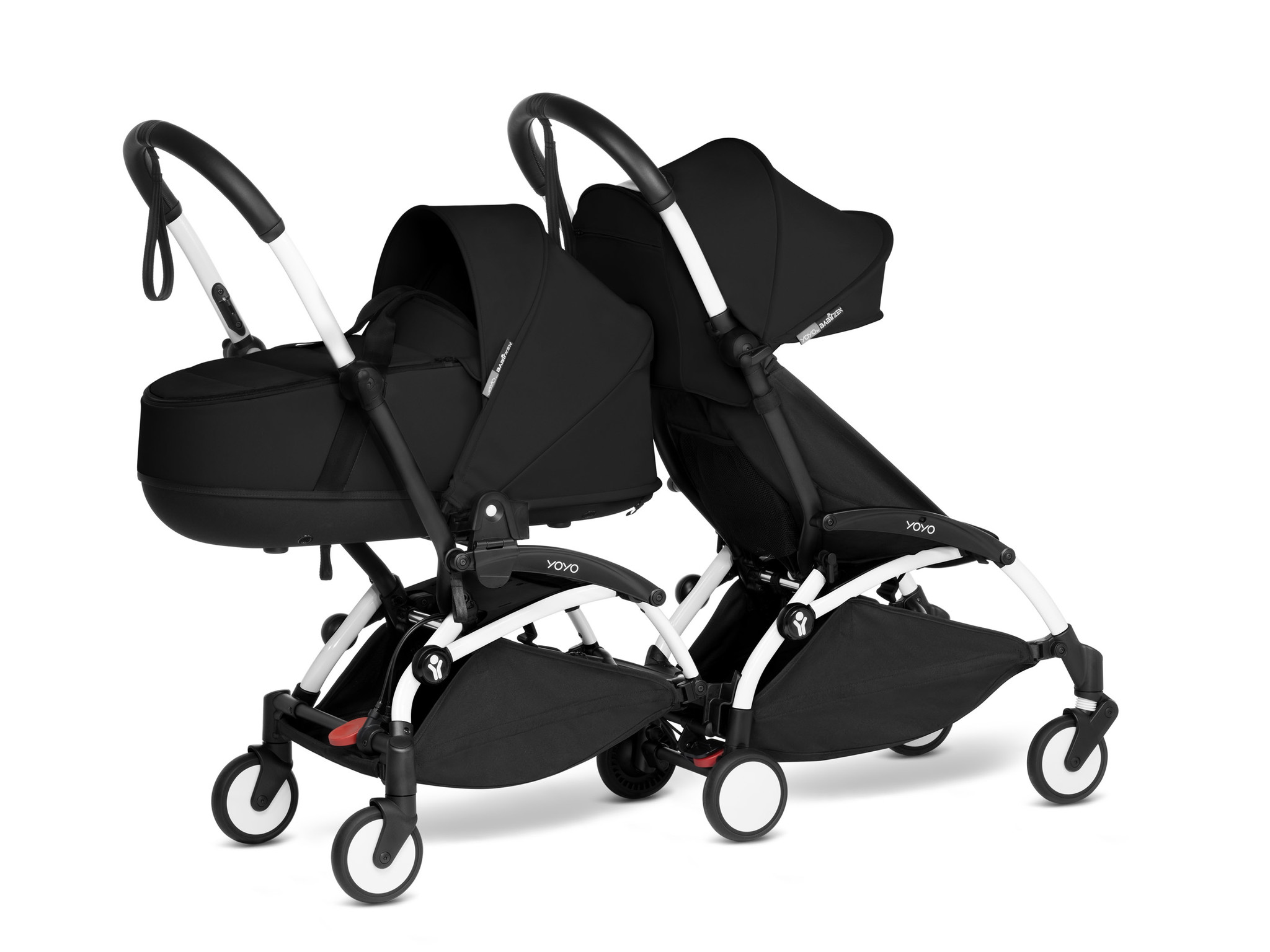 Babyzen YOYO2 wit frame met CONNECT compleet voor 1 newborn en 1 kindje van 6 mnd + kleur zwart