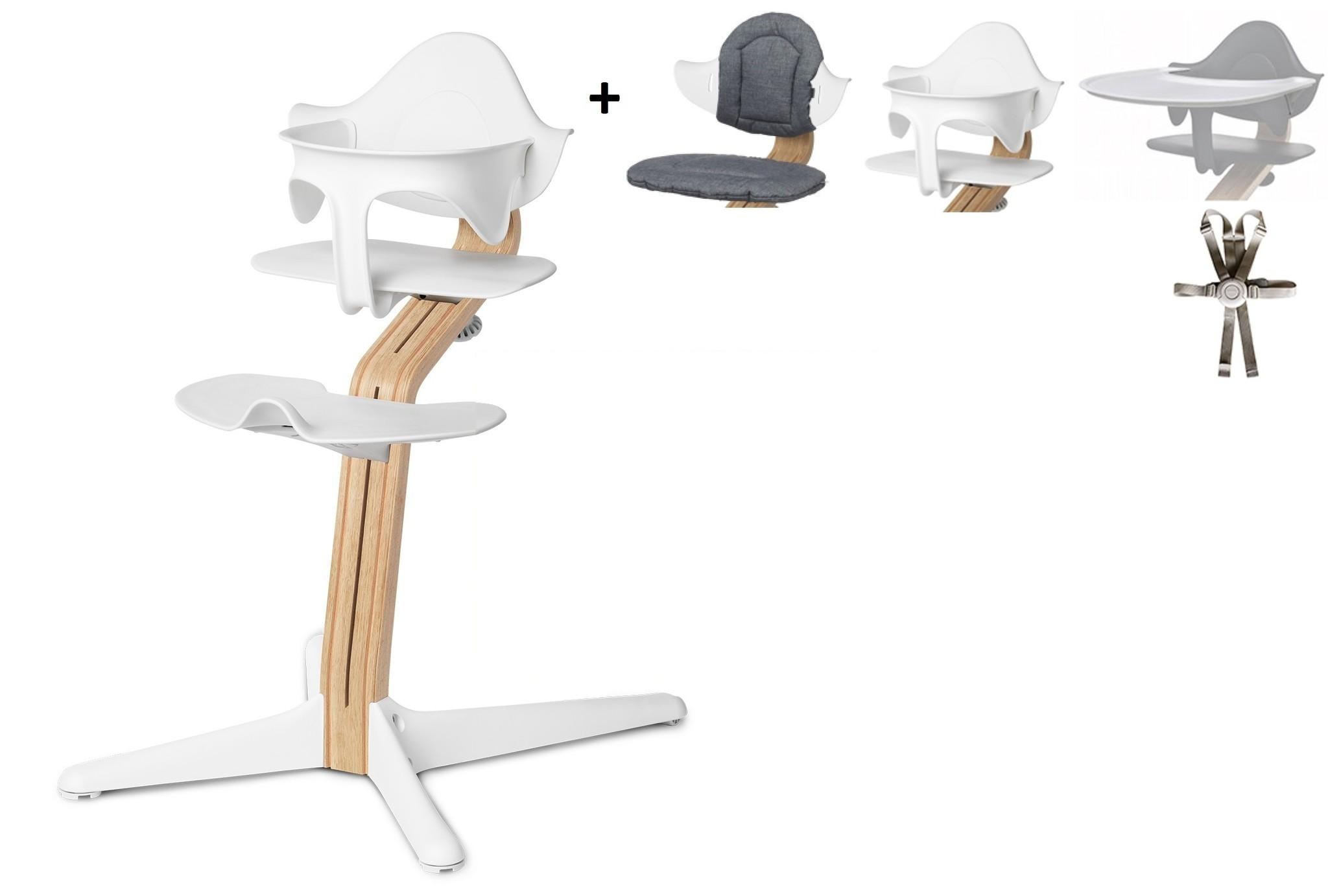 NOMI highchair Ideale set vanaf 6 maanden Basis eiken wit oiled en stoel wit