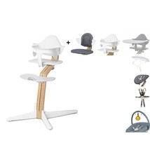 Nomi NOMI Hochstuhl komplettes Set von Geburt an Basic Eiche weiß geölt und Stuhl weiß