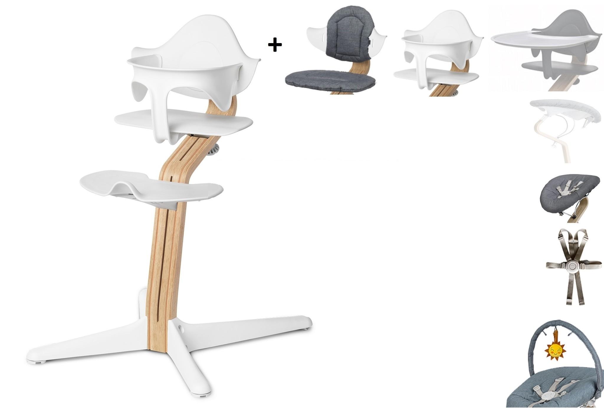 NOMI highchair complete set vanaf de geboorte Basis eiken wit oiled en stoel wit
