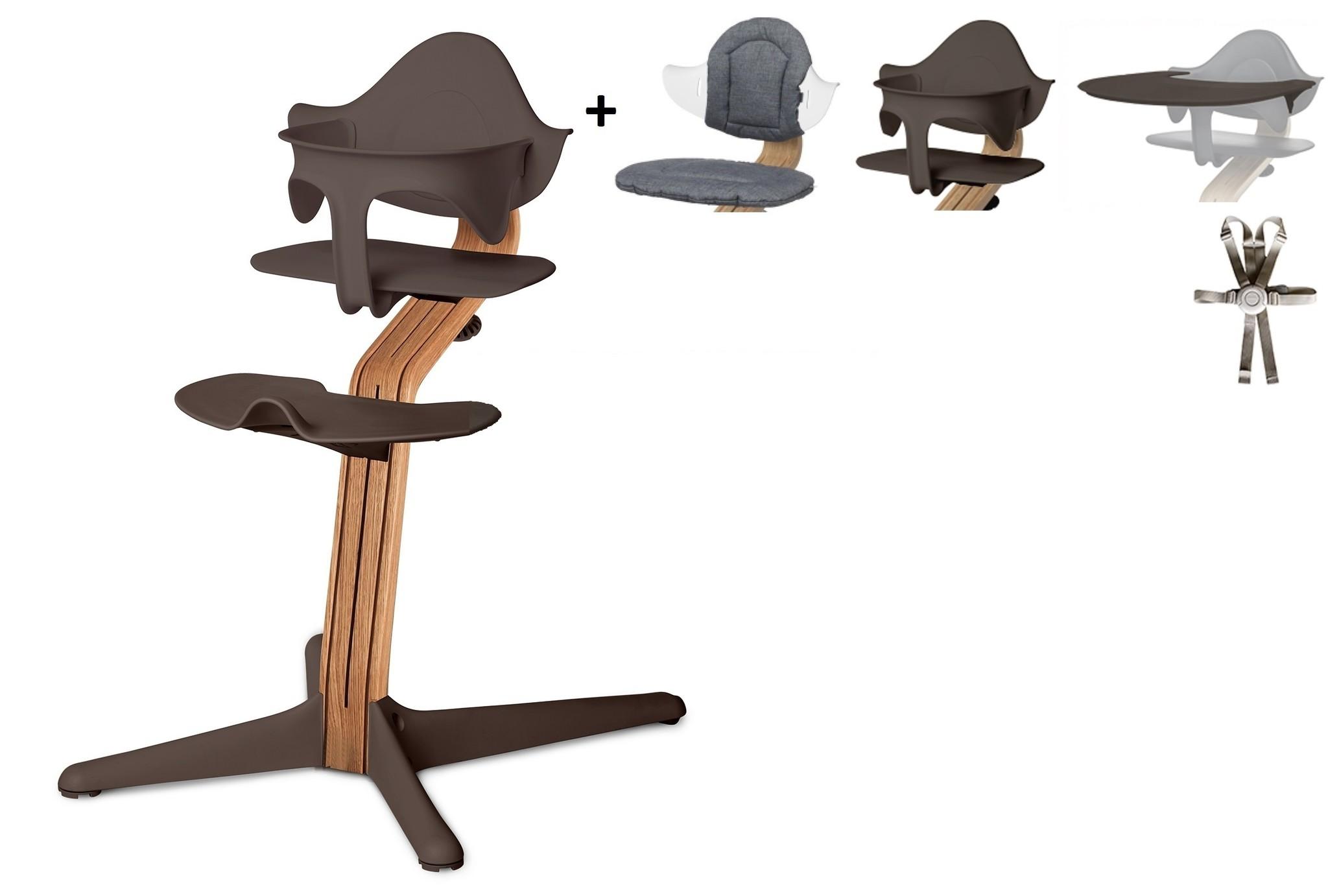 NOMI highchair Ideale set vanaf 6 maanden Basis eiken nature oiled en stoel coffee