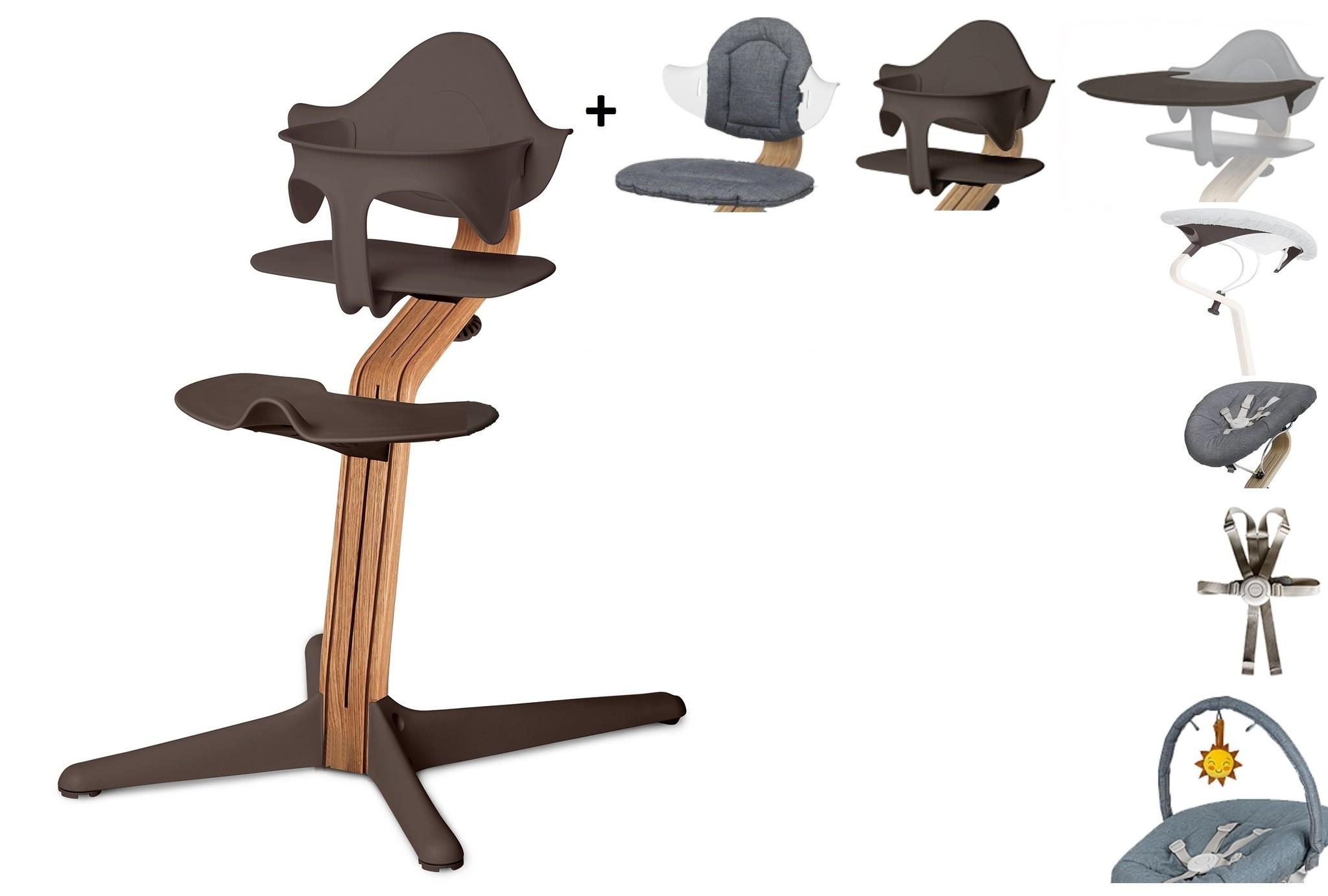 NOMI highchair complete set vanaf de geboorte Basis eiken nature oiled en stoel coffee