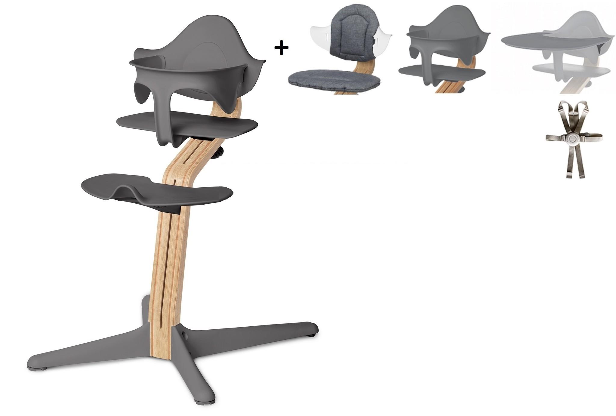 NOMI highchair Ideale set vanaf 6 maanden Basis eiken wit oiled en stoel grijs