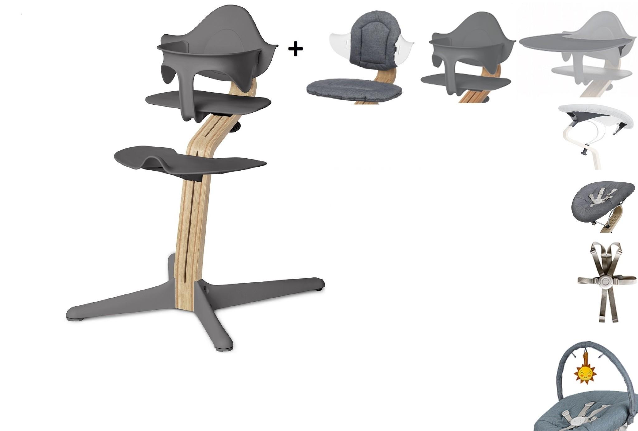 NOMI highchair complete set vanaf de geboorte Basis eiken wit oiled en stoel grijs