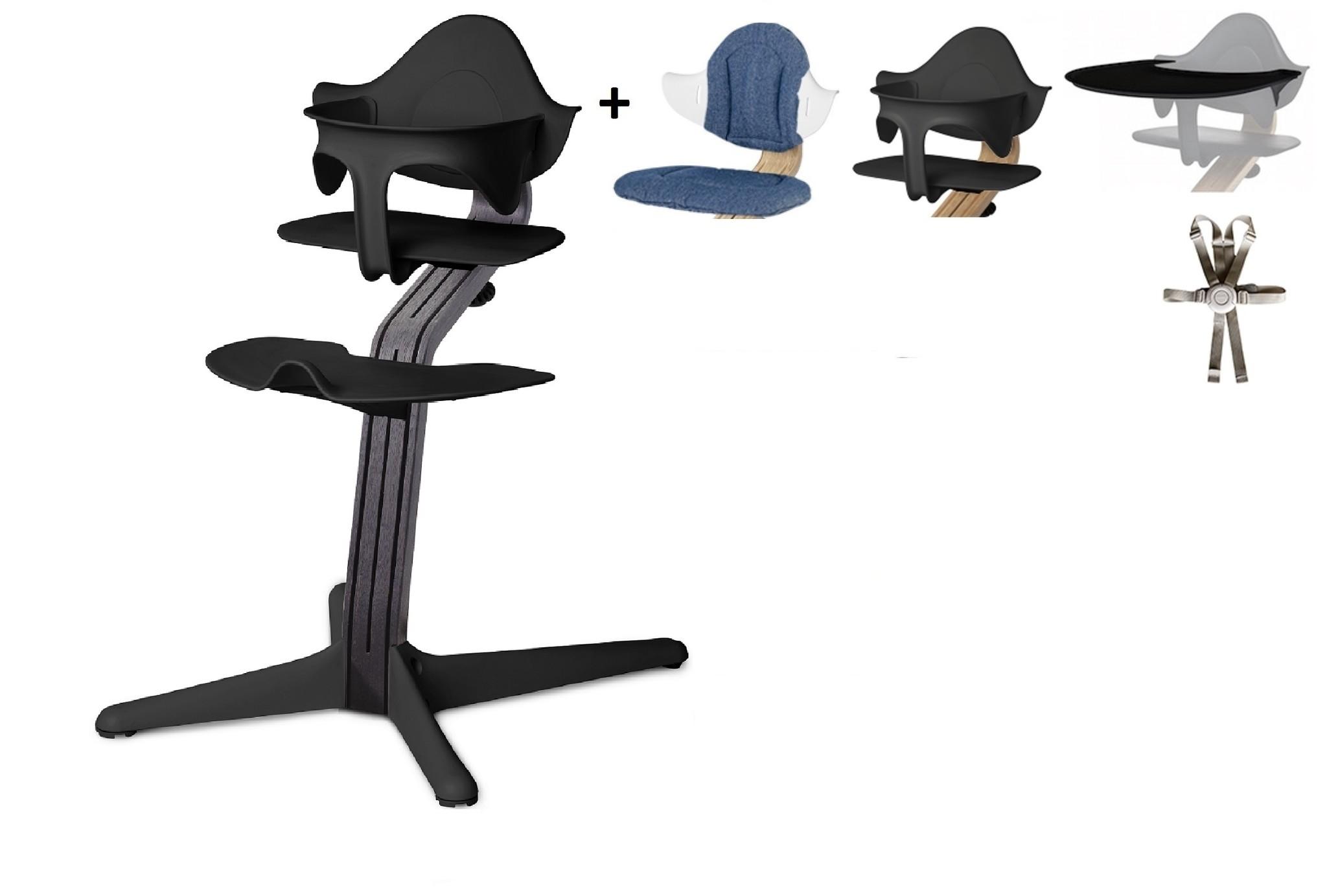 NOMI highchair Ideale set vanaf 6 maanden Basis eiken zwart stained en stoel zwart