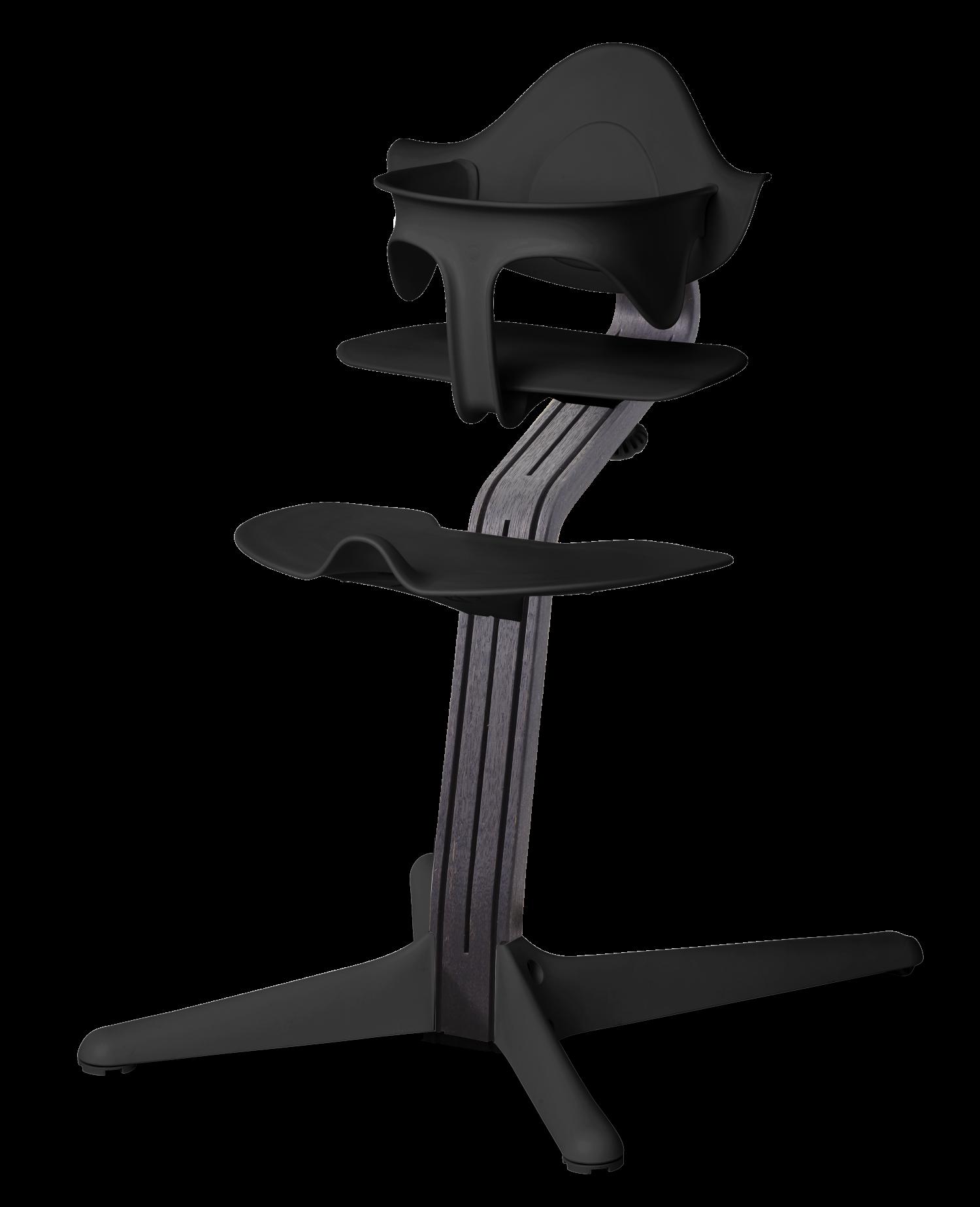 Nomi NOMI Hochstuhl Ideales Set ab 6 Monaten Basic Eiche schwarz gebeizt und Stuhl schwarz