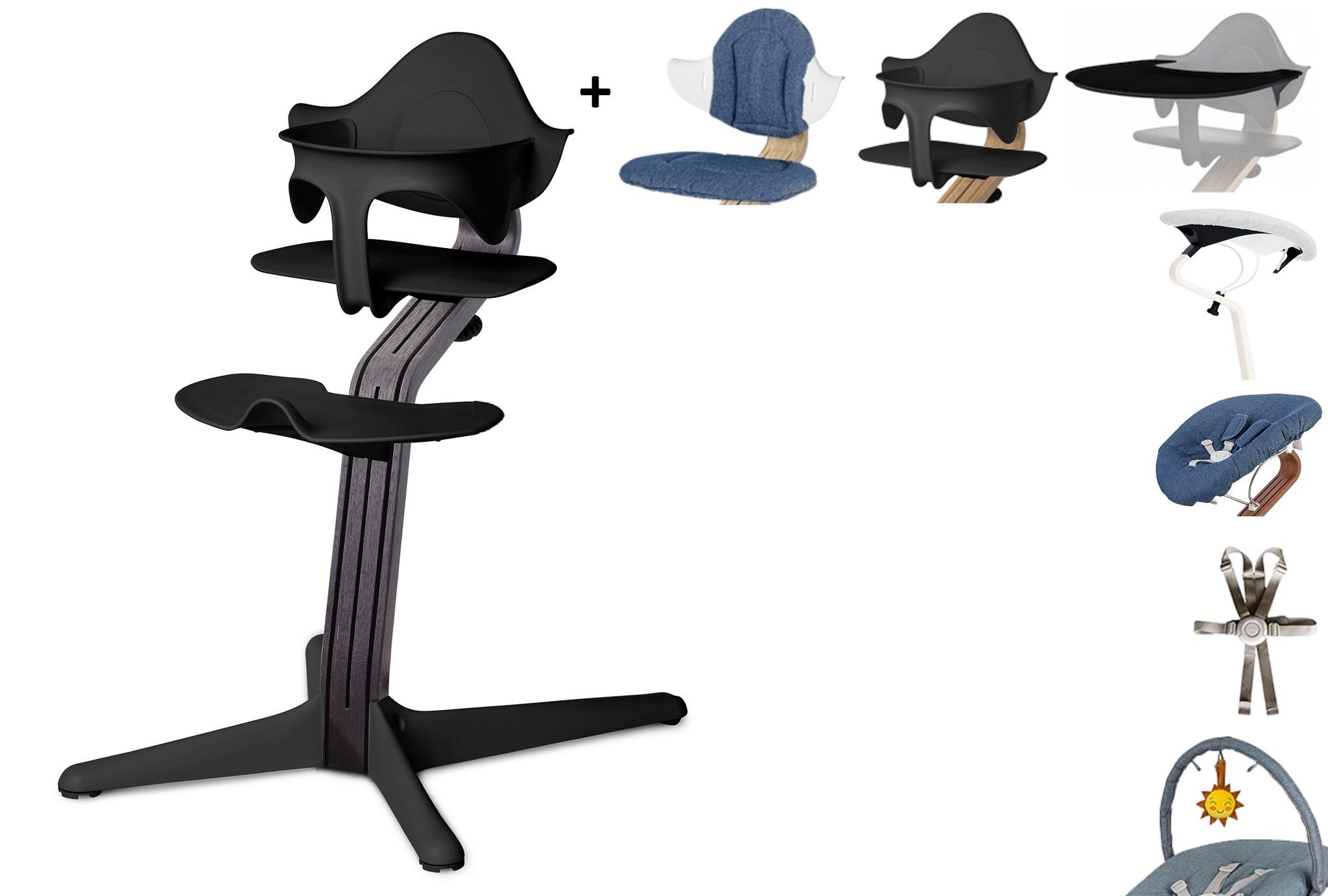 NOMI highchair complete set vanaf de geboorte Basis eiken zwart stained en stoel zwart
